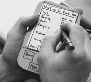 A mock-up of a service application, a start to sketch a user experience.
