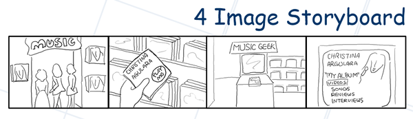 Depict an idea with four simple images of how users will use a product.